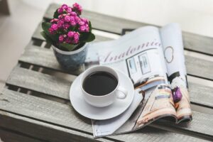 coffee, magazine, newspaper